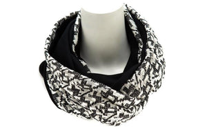 Black and Cream Graphic Reversible Infinity Scarf Version II