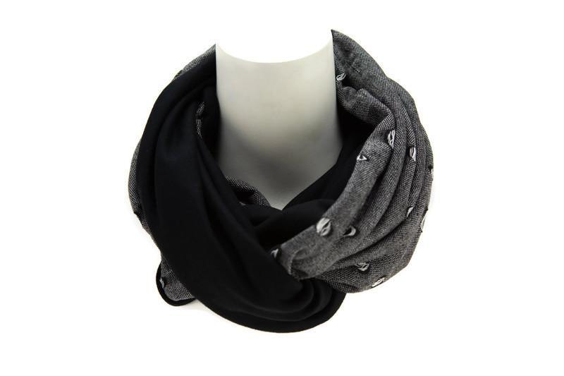 Black and White Distressed Hole Reversible Infinity Scarf