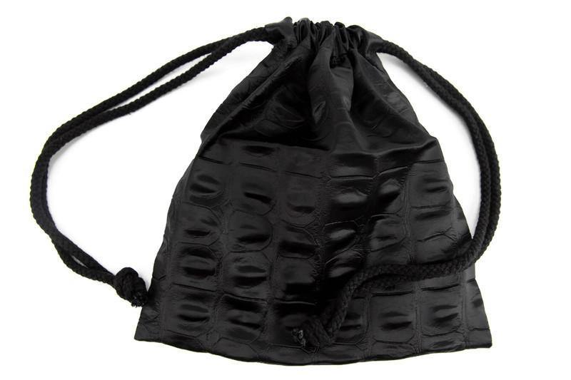 Black Alligator Drawstring Bag
