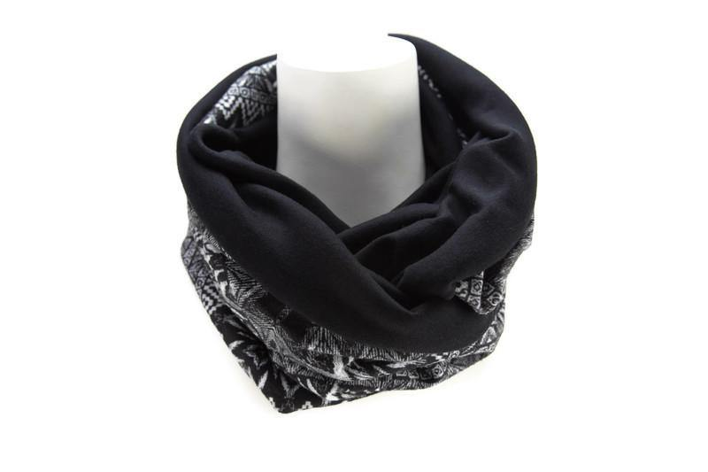 Black and Gray Tribal Reversible Infinity Scarf