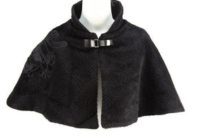 Black Chevron Patterned Faux Fur Cape