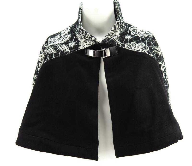 Black and Cream Floral Panel Cape