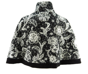 Black and Cream Floral Panel Short Cape