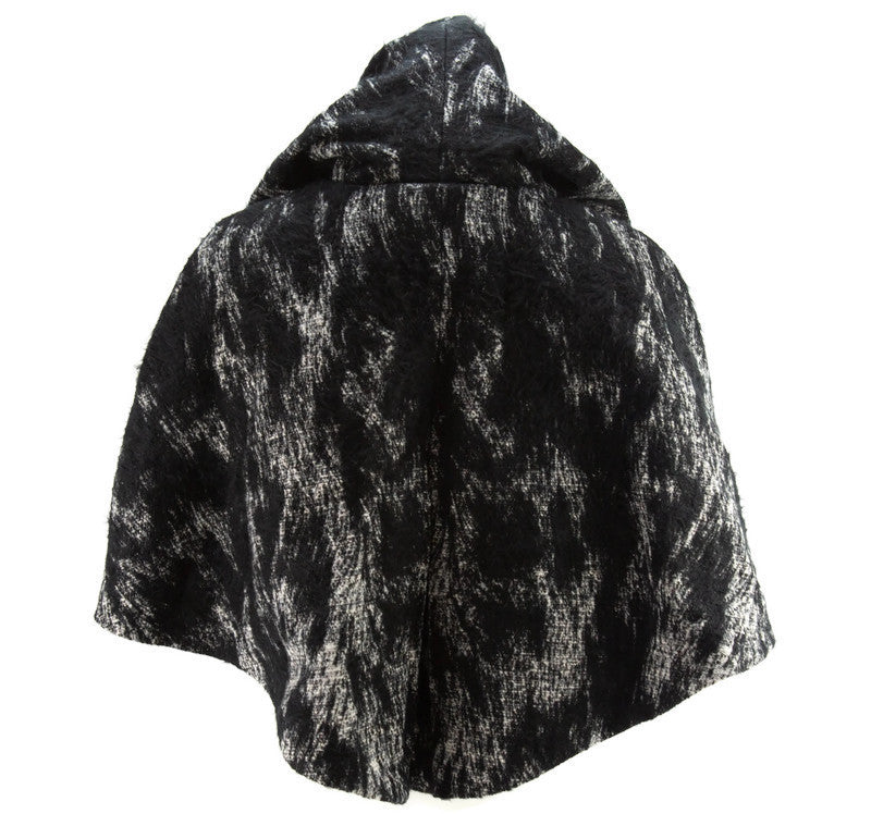 Fuzzy Black and Cream Hooded Cape