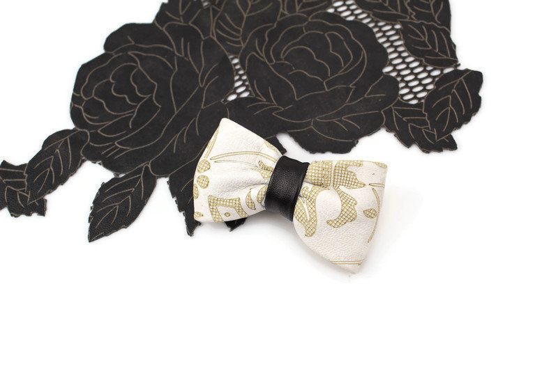 Cream and Black Leather Mini Bow Tie Clip Hair Bow Clip