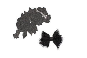 Black Lace Like Bow Tie Clip Hair Bow Clip