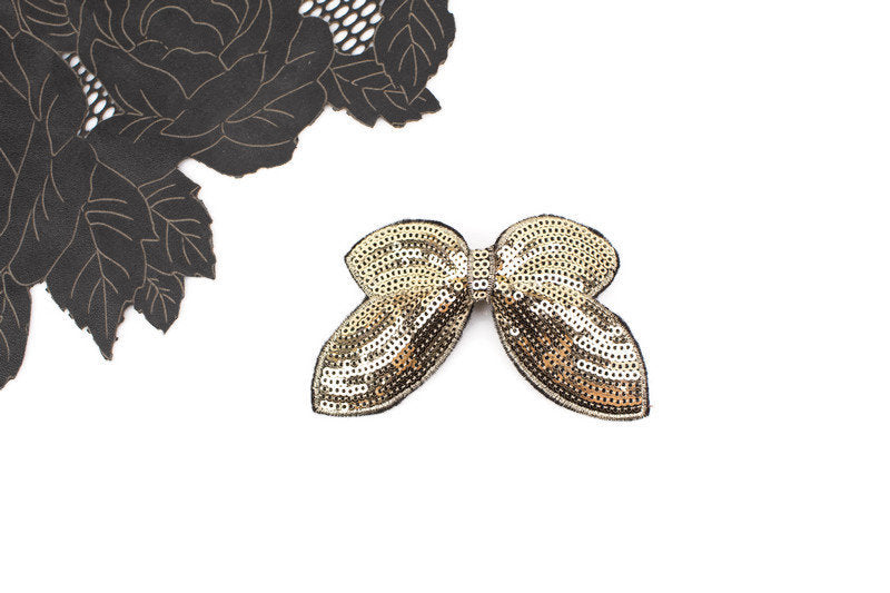 Gold Sequined Bow Hair Clip Hair Bow Clip