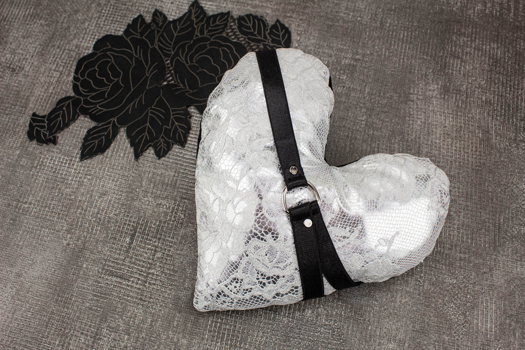 Metallic Silver Lace Harness Heart Pillow SPP00022