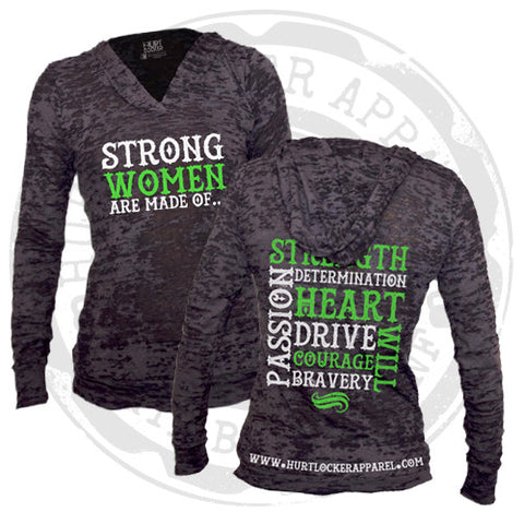 Women Are Strong - Burnout Hoodie (Black)