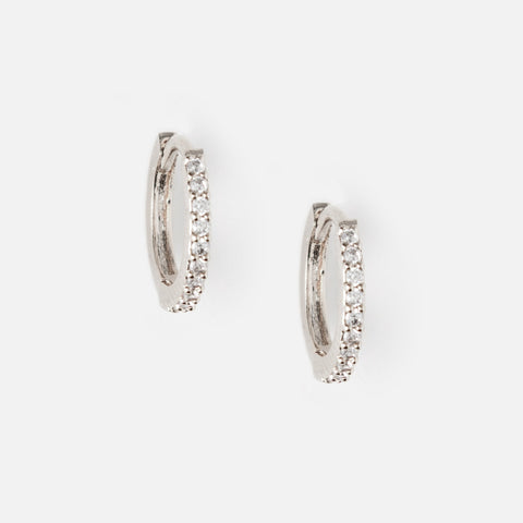 Silver Mini Pave Huggie Hoop Earrings