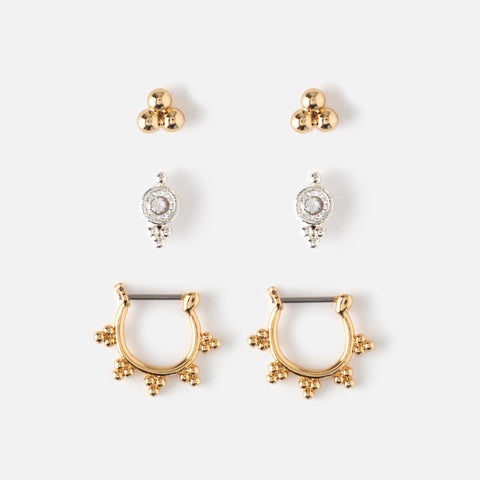 Mini Stud and Hoop Earring 3-pack