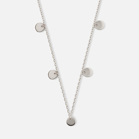 Silver Multi Disc Drop Necklace