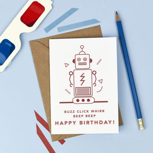 Robot 3D Happy Birthday Card