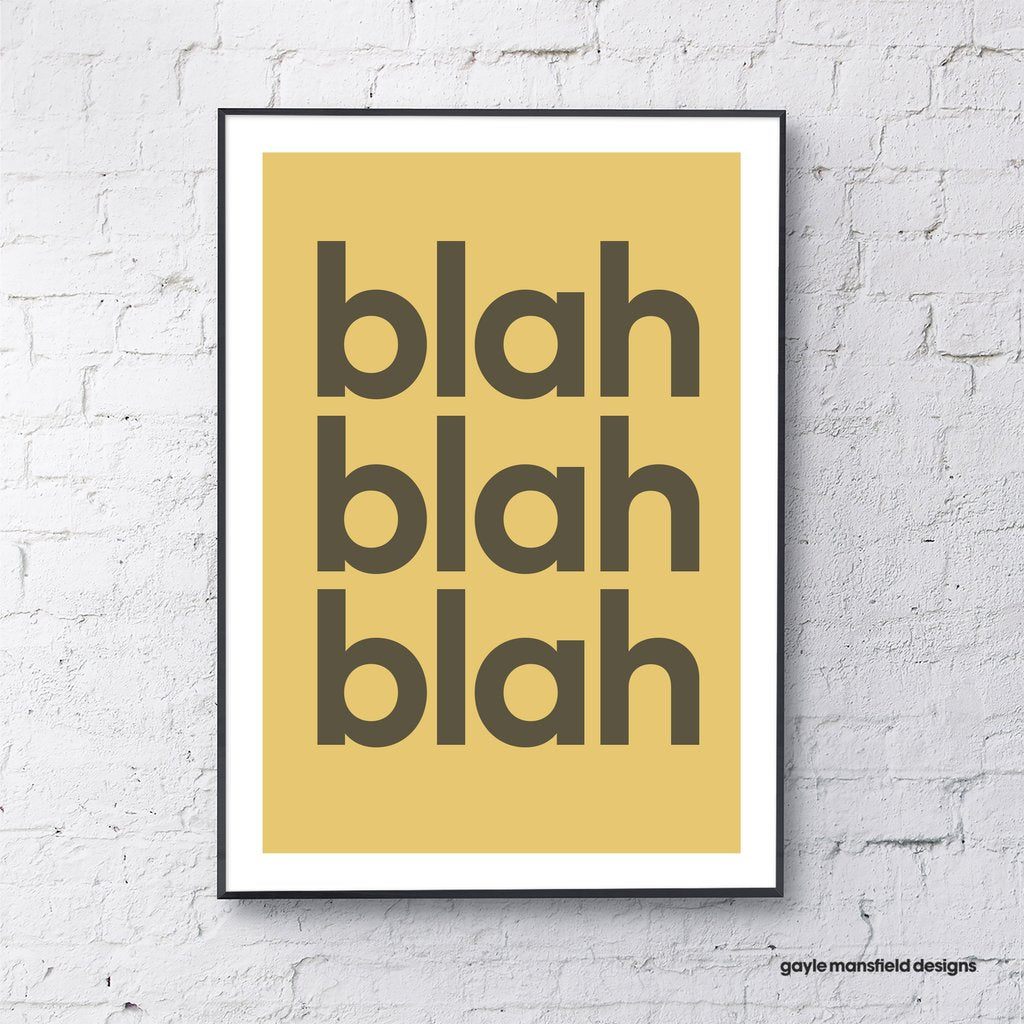 Yellow Blah Blah Blah Print
