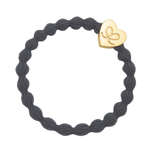 Bangle Band - Storm Grey, Silver Heart