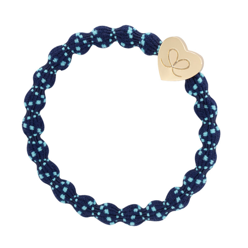 Bangle Band - Turquoise/Navy, Gold Heart