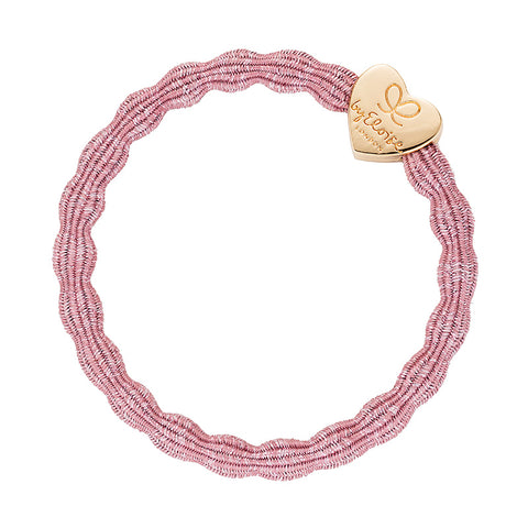 Bangle Band - Metallic Rose Pink, Gold Heart