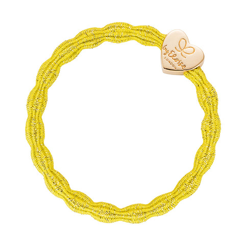 Bangle Band - Metallic Yellow, Gold Heart