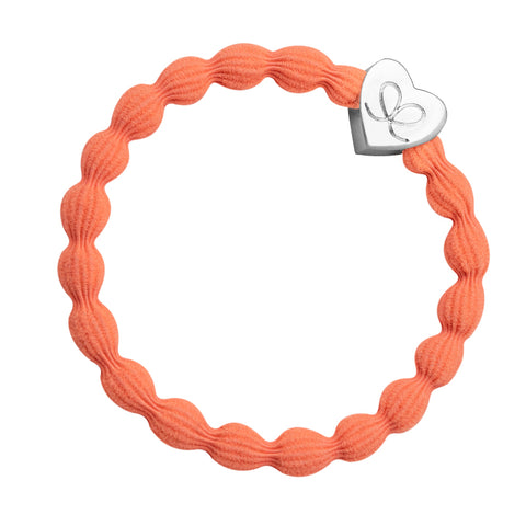 Bangle Band - Neon Orange, Silver Heart