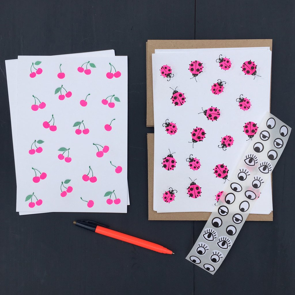 Writing Paper Set - Cherries and Ladybirds
