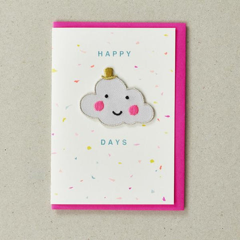Happy Days Cloud Iron-on Patch Card