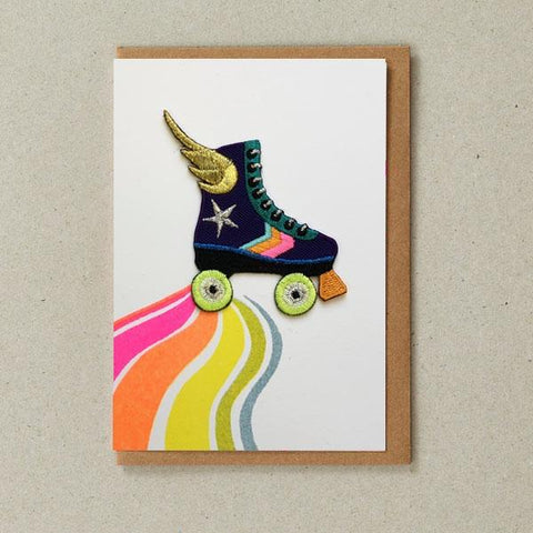 Rainbow Rollerskate Iron-on Patch Card