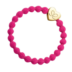 Bangle Band - Metallic Fuchsia, Gold Heart