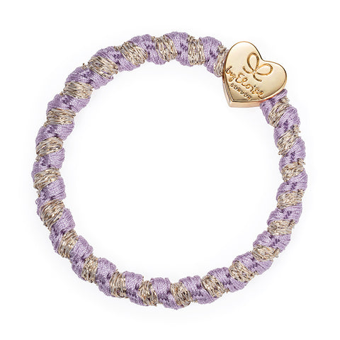 Woven Bangle Band - Lavender, Gold Heart