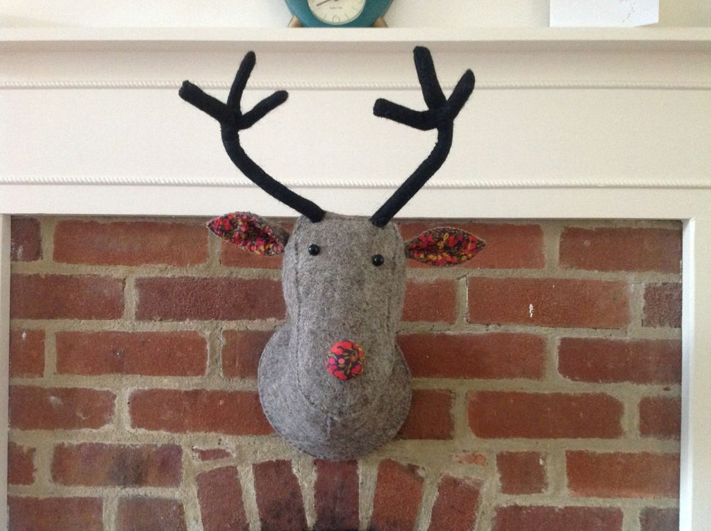 Grey Felt Reindeer Head - Liberty Print