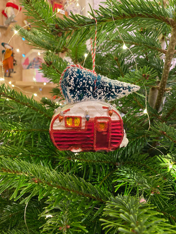 Vintage Red Caravan With Christmas Tree