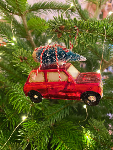 Red mini With Christmas Tree Decoration