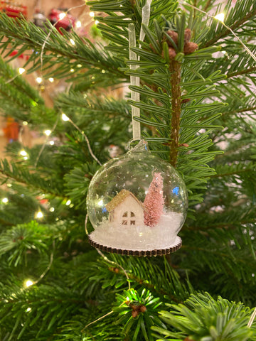 Small Pink House Glass Dome Bauble