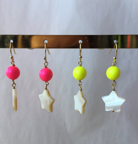 Neon Pearl Star Earrings