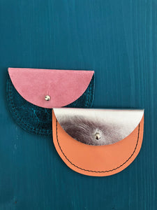Konoc Leather Purse - Silver & Coral