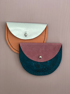 Konoc Leather Purse - Pink & Turquoise