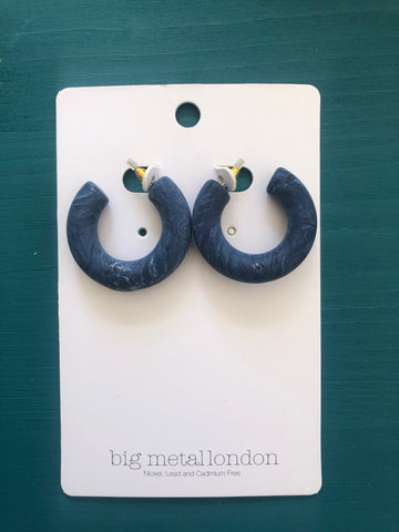 Petra Chunky Hoop Earrings (Blue)