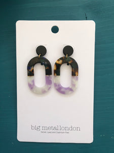 Camilla Oblong Two-Tone Earrings (Tortoiseshell/Lilac)