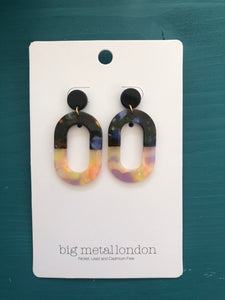 Camilla Oblong Two-Tone Earrings (Tortoiseshell/Lemon)
