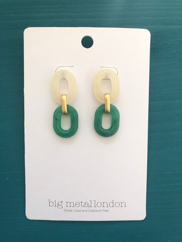Petra Link Earrings (White/Green)