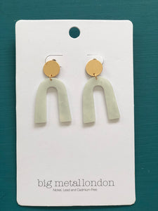 Octavie Stone Effect Resin Earrings - White