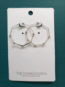 Lucille Hexagon Diamante Hoop - Silver