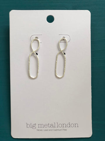 Valeria Organic Infinity Shaped Earrings - Silver
