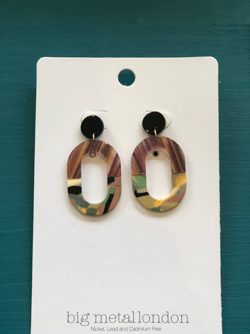 Celia Two-Tone Oblong Resin Earrings - Purple/Pink