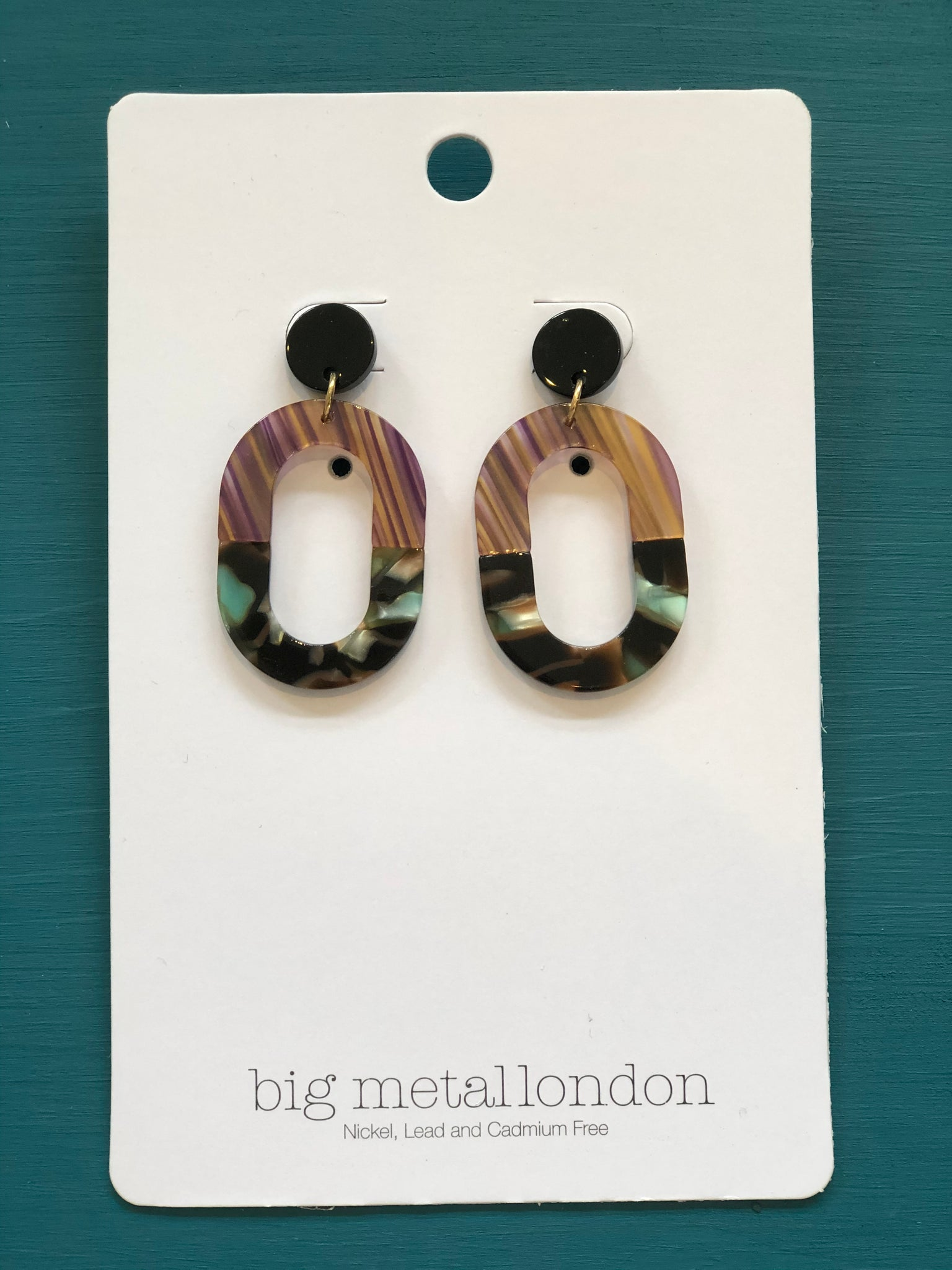 Celia Two-Tone Oblong Resin Earrings - Multi