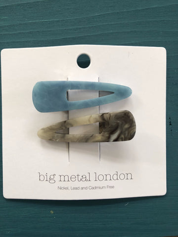 Petra Resin Two-Tone Hairclips - Blue/Grey