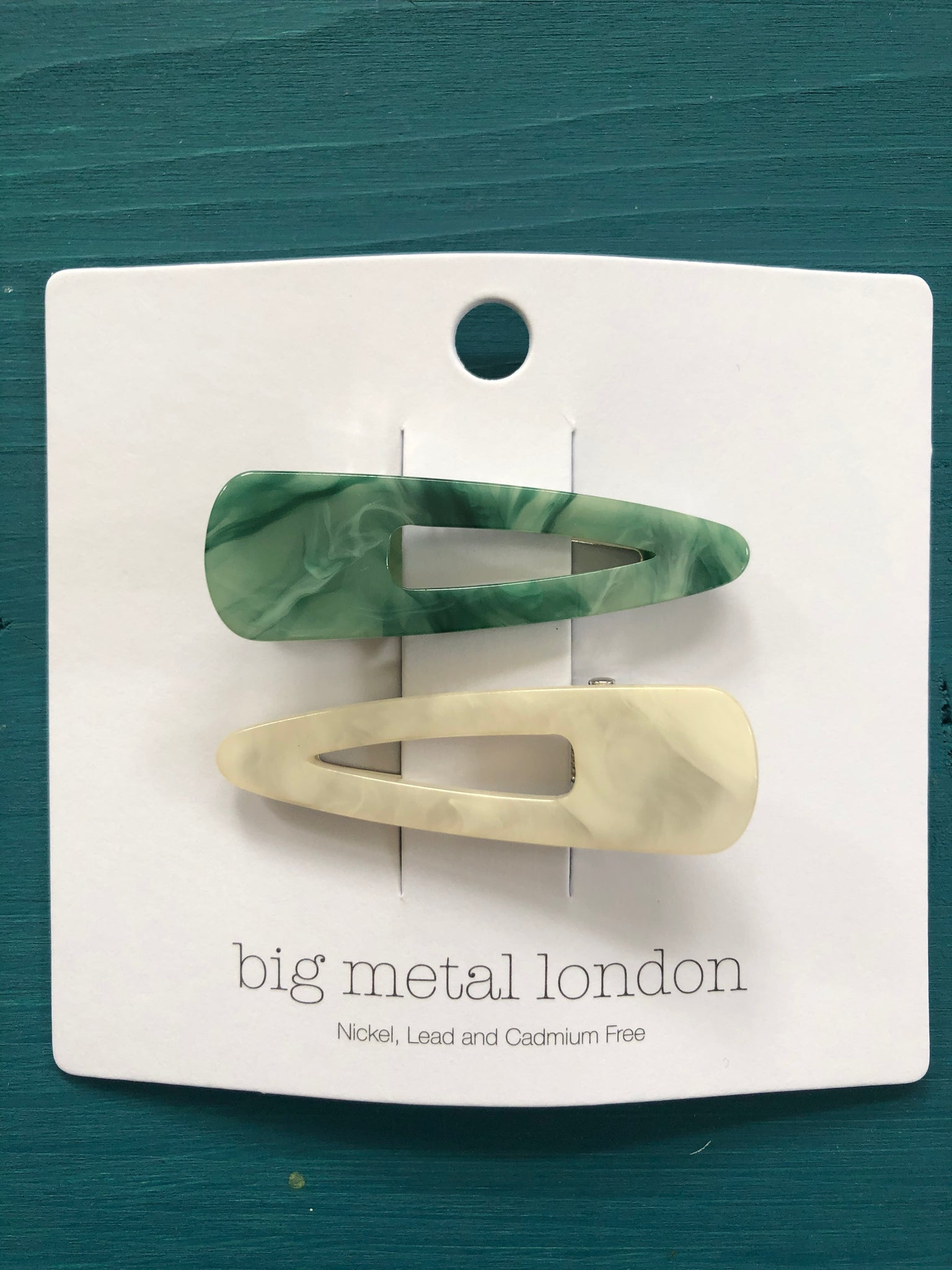 Petra Resin Two-Tone Hairclips - Green/White