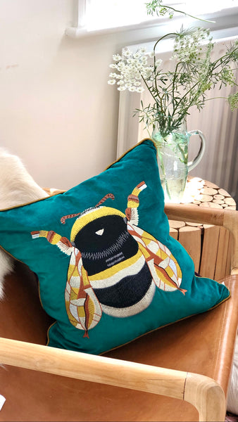Teal Bee Cushions