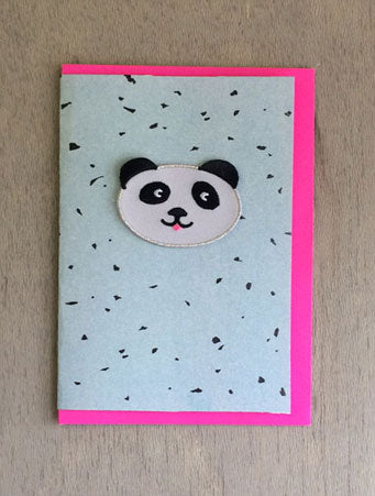 Turquoise Panda Iron-on Patch Card