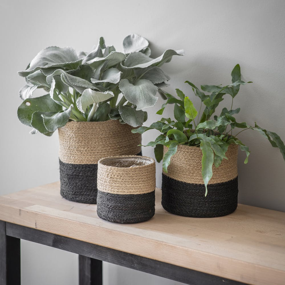 Set of 3 Neutral/Black Jute Pots