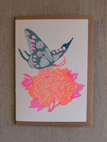 Teal Butterfly - Riso Papercut Card